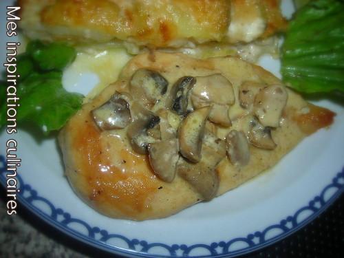 Escalope de poulet à la crème et aux champignons