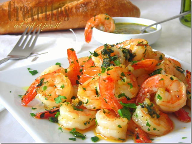 Crevettes sautées ail et persil