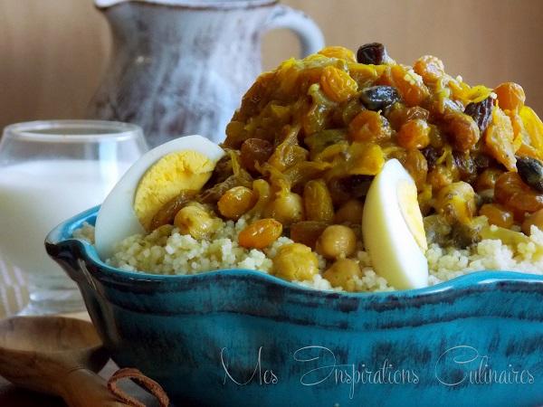 couscous tfaya marocain aux raisins secs et oignons caramelises 1