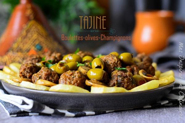 Tajine boulettes de kefta, olives champignons et pommes de terre