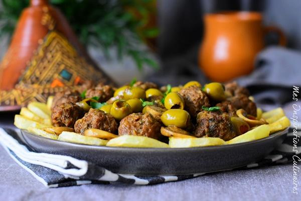 Tajine zitoune (olives), Kefta et pommes de terre