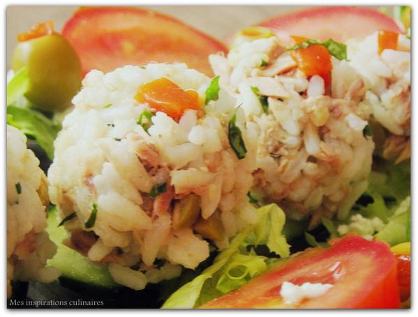 Boulettes de riz au thon & cacahuètes / amuse bouche
