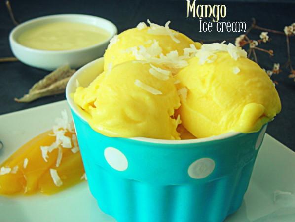 Glace à la mangue (sans sorbetière)