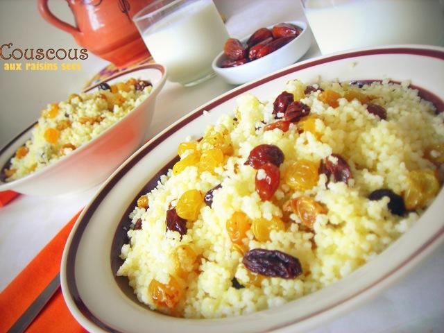 Mesfouf / couscous aux raisins secs
