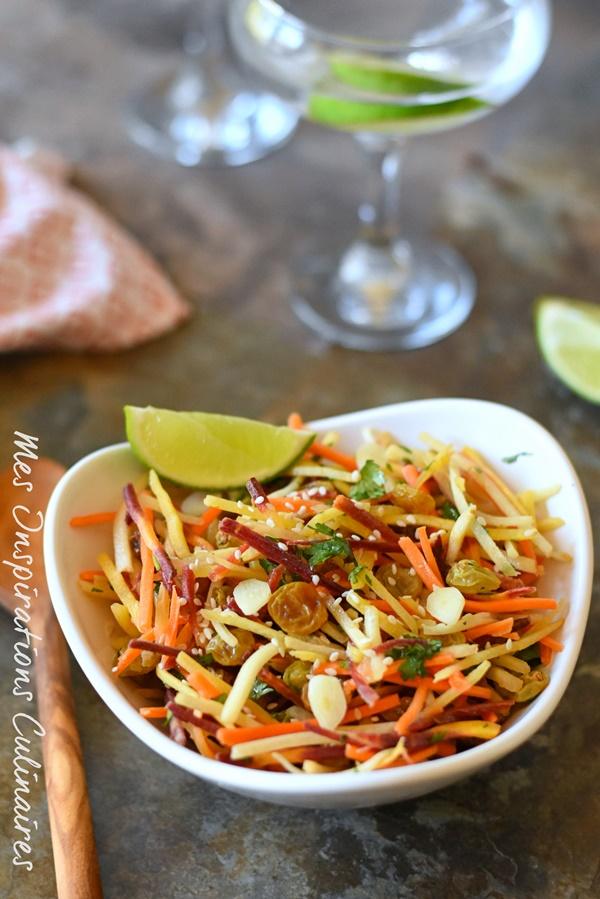 Salade de carotte au citron vert et raisins secs