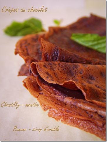 Crêpes au chocolat / menthe & sirop d'érable