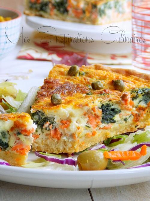 Recette Quiche au saumon & épinards