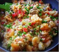 riz crevettes champignons 3