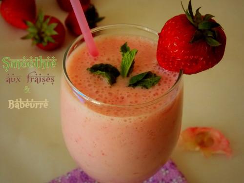 Smoothie aux fraises & babeurre (Lben, lait fermente)