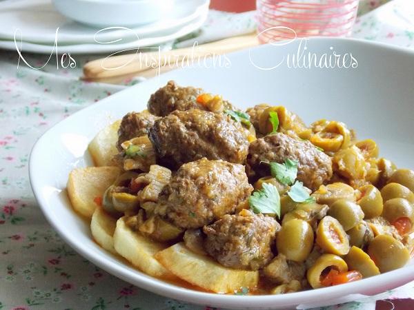 Tajine de boulettes viande hach e champignons et olives - Recette de cuisine algerienne traditionnelle ...