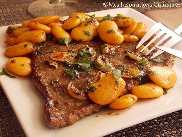steak l 39 ail haricots blancs saut es le blog cuisine de samar. Black Bedroom Furniture Sets. Home Design Ideas