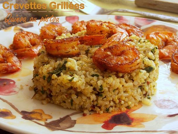 quinoa au pistou et crevettes pic es grill es le blog cuisine de samar. Black Bedroom Furniture Sets. Home Design Ideas