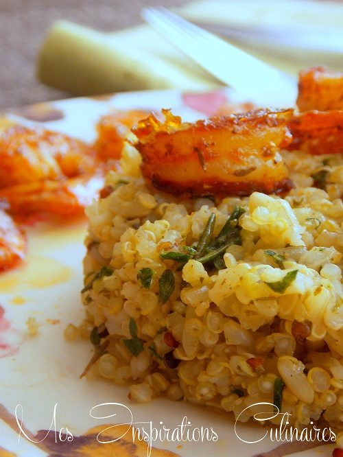 quinoa au pistou et crevettes1
