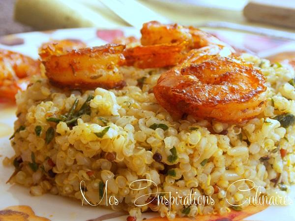 quinoa pistou et crevettes grillees 1
