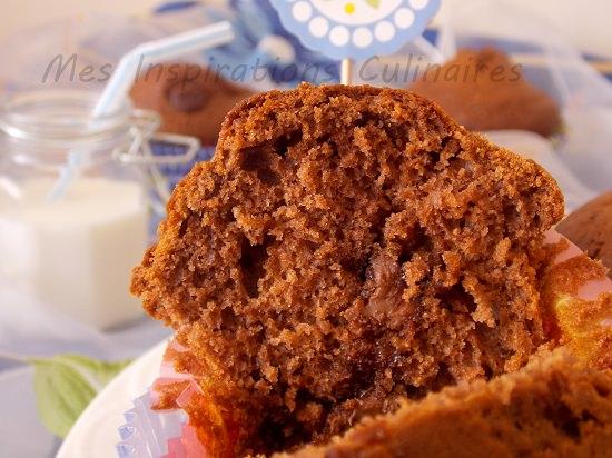 Muffins au nutella, pepites de chocolat
