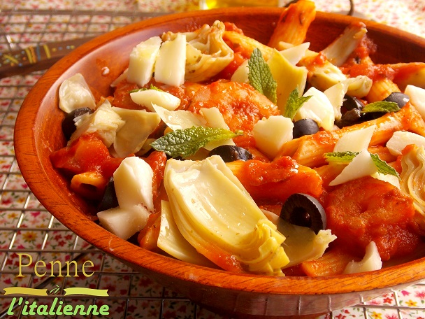 Penne a l'italienne, crevettes sauce marinara