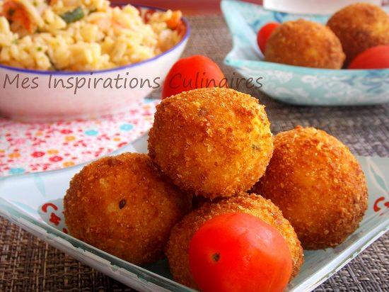 Arancini aux crevettes et parmigiano