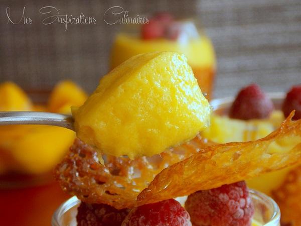Mousse à la mangue, coulis framboise et tuile au citron