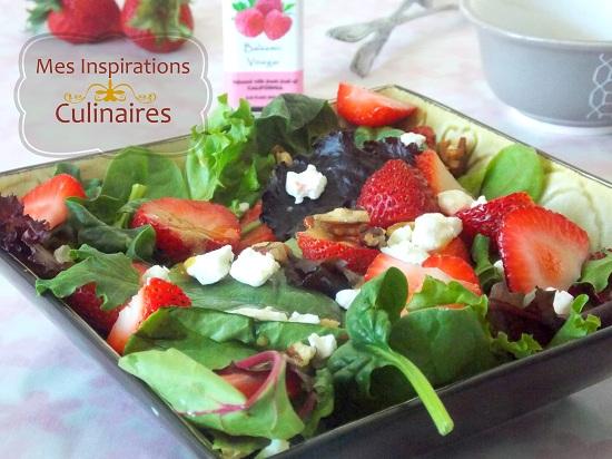 Salade de fraises aux noix et a la feta