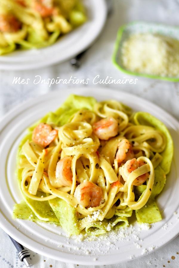 Fettucini aux crevettes, sauce alfredo