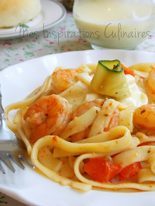 Fettucini aux crevettes et sauce alfredo