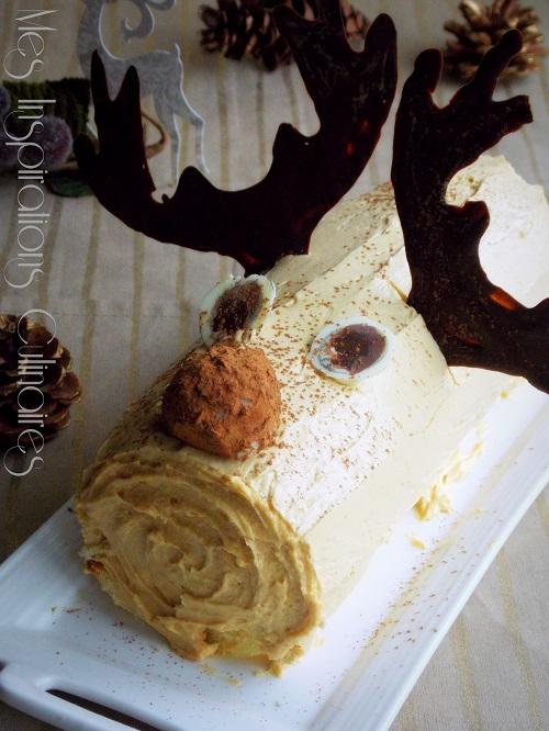 Buche à la crème de marron et crème au café