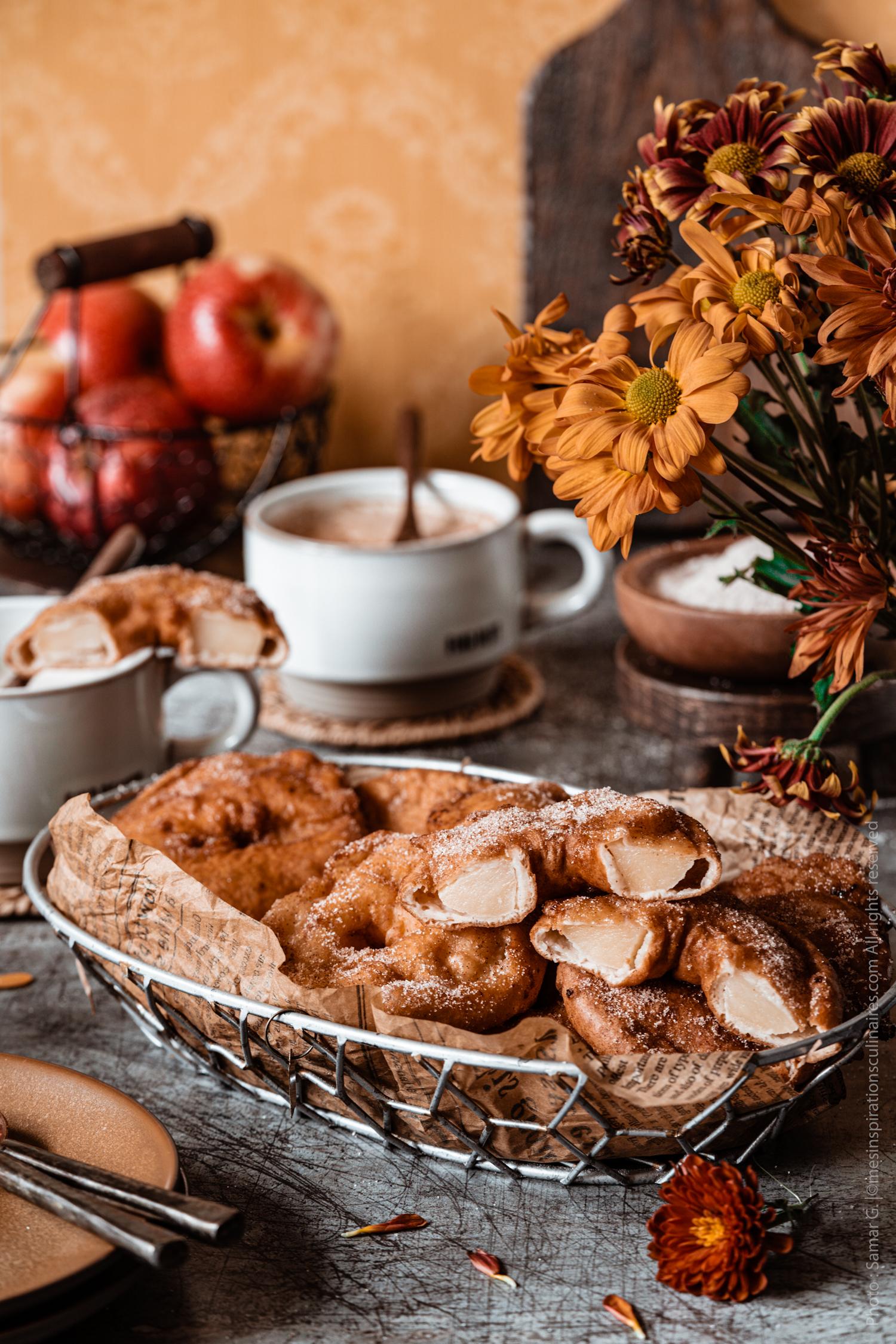 beignet frits aux pommes et cannelle