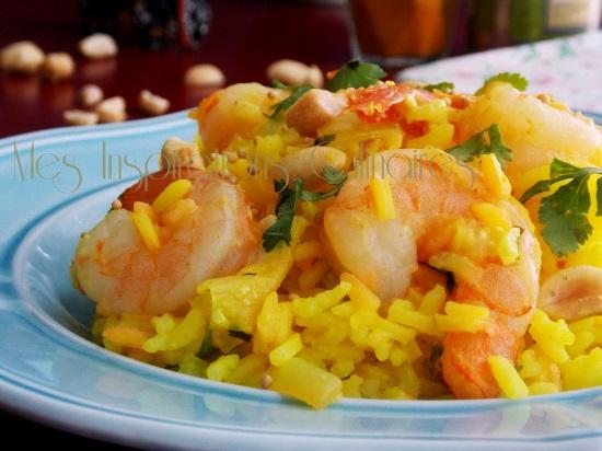 riz pilaf au lait de coco et crevettes