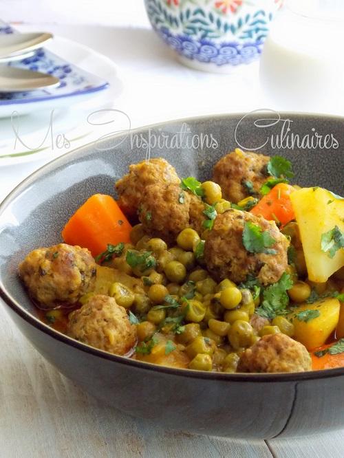 tajine boulettes de viande hachee et petits pois 1