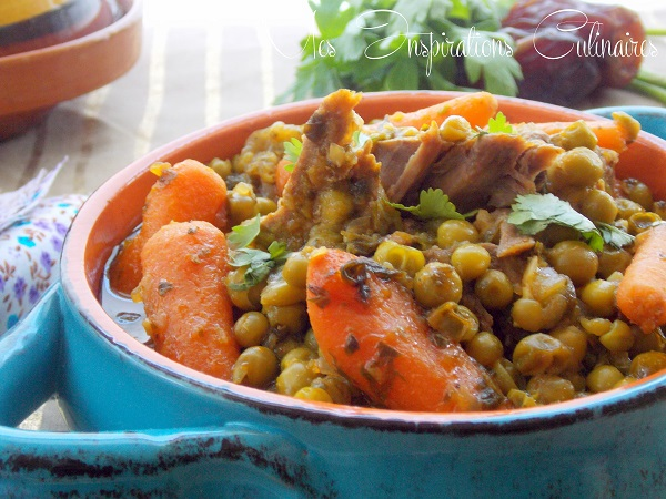 tajine petit pois a la viande d'agneau et carottes