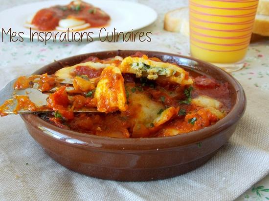 Gratin de raviolis a la sauce tomate, epinards et mozzarella