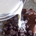 creme liquide sur le chocolat