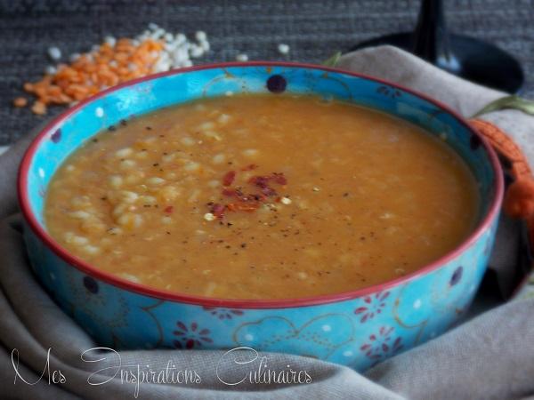 Pilaf de lentilles corail au curry et orge perlé