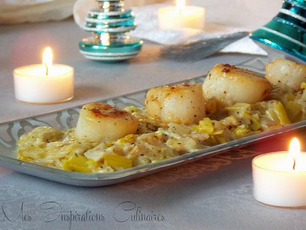 Noix de Saint Jacques sur un lit de fondue de poireaux 1