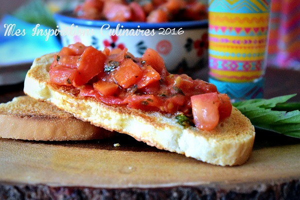 bruschetta maison aux tomate ail et basilic