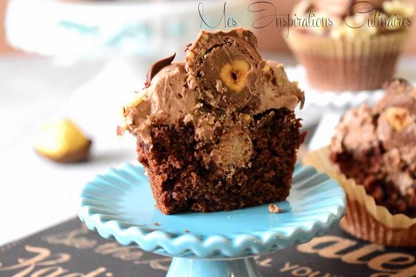 cupcakes au chocolat au ferrero rocher et au nutella 1