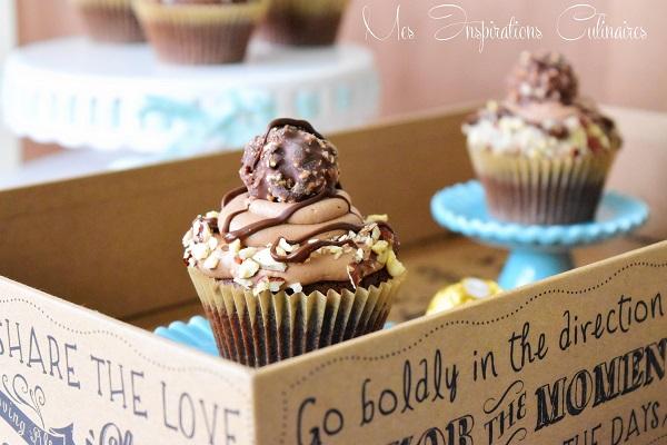 cupcakes au ferrero Rocher & glacage au beurre au nutella