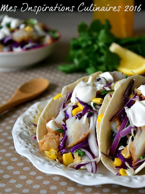 Tacos au poisson et coleslaw rouge