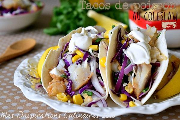 Tacos au poisson coleslaw rouge et avocat