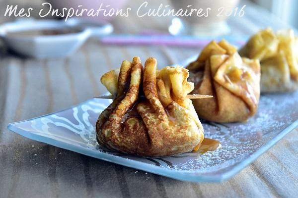 Aumônière de crêpes aux pommes et caramel beurre salé
