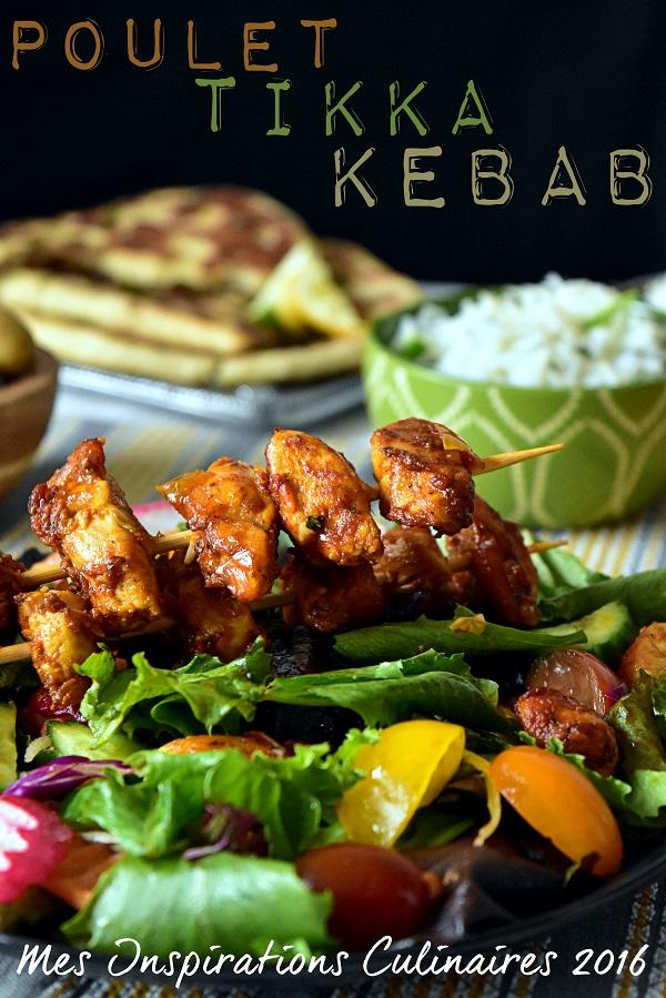 poulet tikka Kebab en salad 1