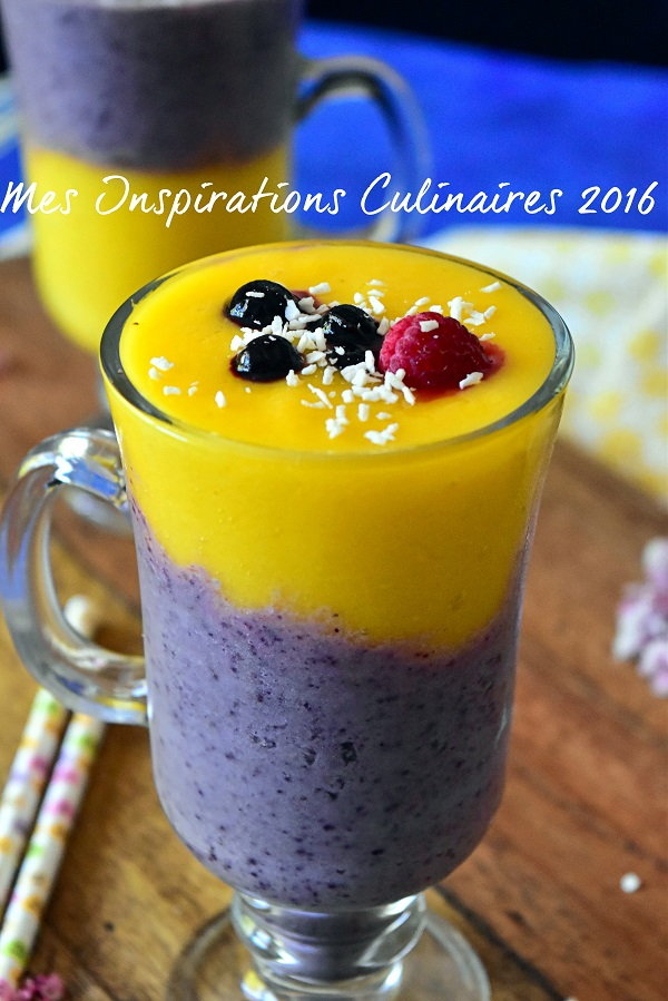 smoothie a la mangue banane et myrtilles 1