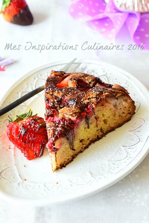 Gâteau moelleux aux Fraises sans beurre