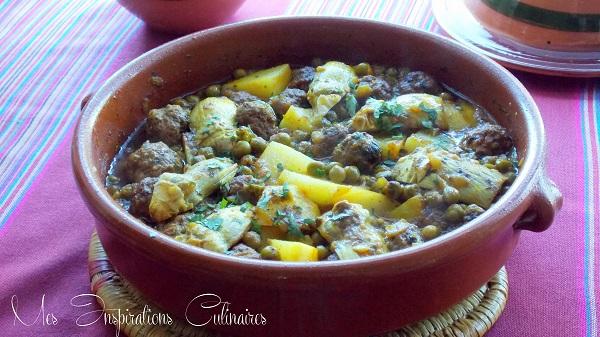 Tajine de kefta artichauts et petits pois le blog for Petit pois cuisine