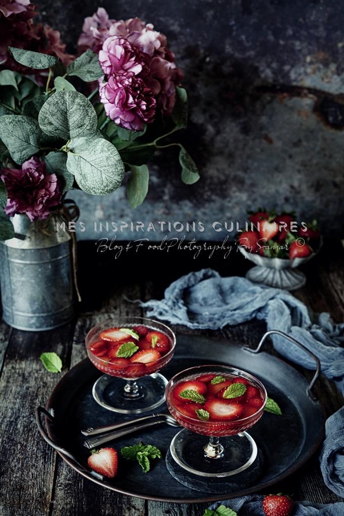 Salade de fraises et menthe fraiche