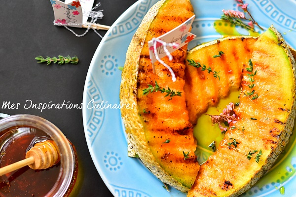 Melon rôti au thym et miel