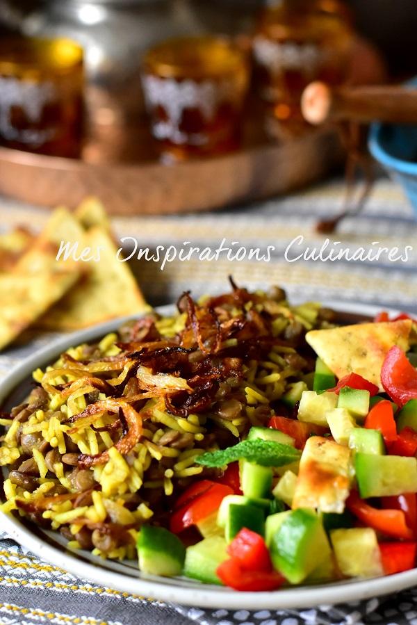 riz aux lentilles (Mjaddara libanais)