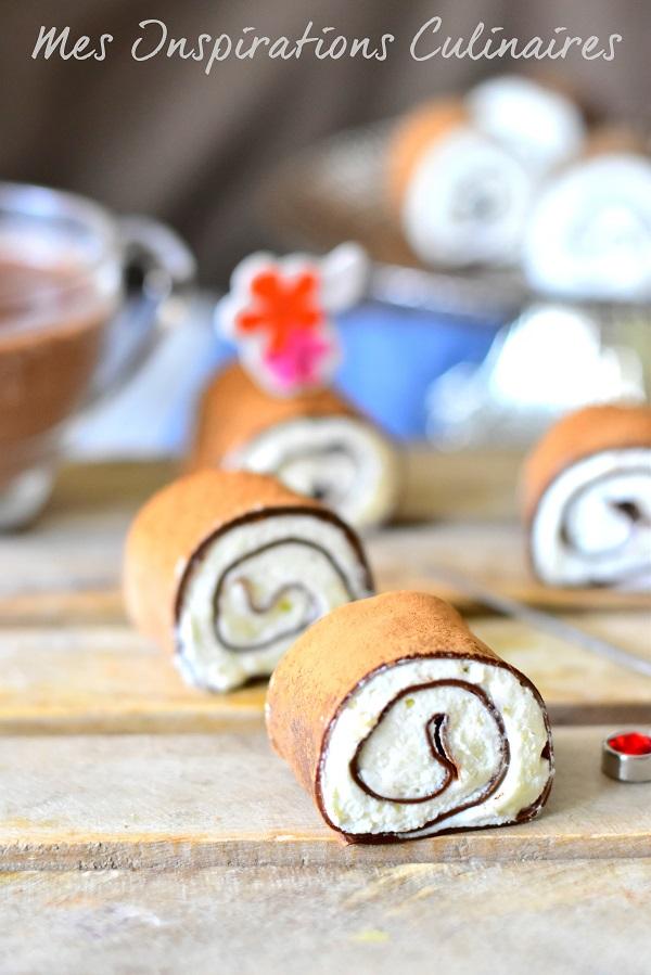 Crêpes roulées sucrées chocolat mascarpone