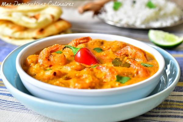 Crevettes au curry au lait de coco