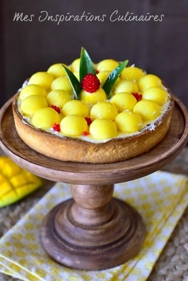 Tarte à la mangue caramélisée, crémeux ananas